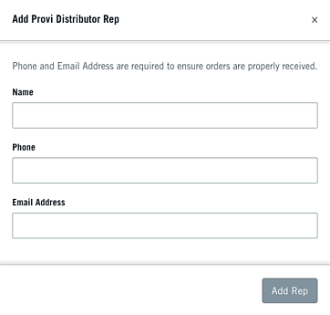 Add missing sales rep contact information modal