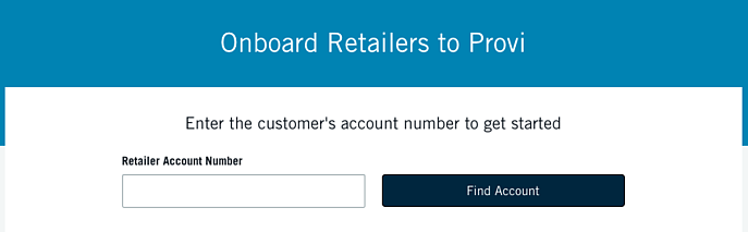Rapid Retailer Onboarding Account Lookup